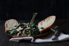 GARLIC SAUTEED KALE AND MUSHROOM BAGUETTE RECIPE