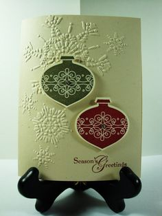 christma card, christmas cards, card sampl, artichokes, decorations, cherries, christmas ornaments, stampin up christmas, heavens