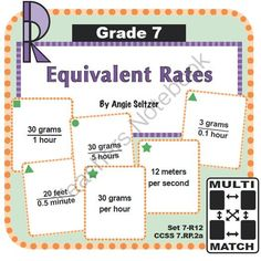 Multi-Match Game Cards 7R: Equivalent Rates from K-8 MathPaths on TeachersNotebook.com -  (10 pages)  - This set of printable Multi-Match game cards helps students learn to recognize equivalent rates, called for by CCSS 7.RP.2a.