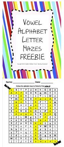 Vowel Letter Recognition Mazes {FREE}