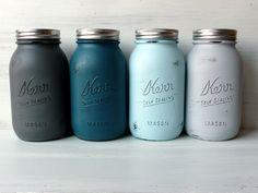 Torquay - Painted and Distressed Mason Jars - Vase - WEDDING DECORATIONS - Home Decor