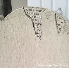 Brilliant - use old book pages to fill in missing veneer! Could use fabric, wrapping paper, whatever!
