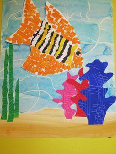 """3rd grade mosaic fish; 14"""" X 18""""; art teacher: Susan Joe"""