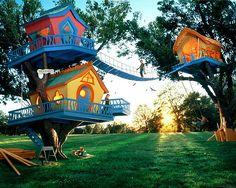 Three whimsical treehouses