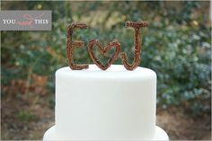 Rustic Twig Wedding Cake Toppers