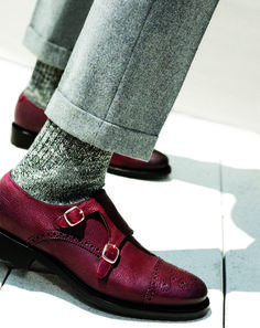 Burgundy Perforated Double Monkstraps