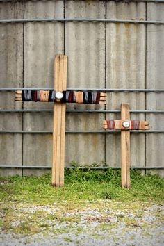 Tobacco Stick Wood and Leather Cross Large by HorsewaresLeather, $45.00