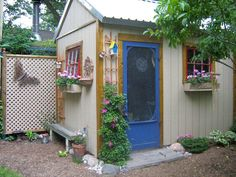 Even a little metal shed can be fixed up to be inviting