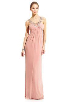 LM COLLECTION Embellished V-Neck Gown