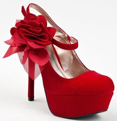 Rosette Slingback High Heel Platform Round Toe Stiletto Red Wedding Pump (Qupid MIRIAM-42)