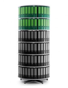 Rotary File Storage - Rotafile - Compactfile 93 - Rotafile file storage system with central column rotating as one with fixed height per level.  32 A4 Binders per level - http://www.fineback.co.uk/office/file-storage/rotary-file-storage/rotafile-compactfile-81.html