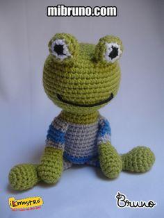 Román Rana de www.mibruno.com #amigurumi #crochet #handmade #frog #green