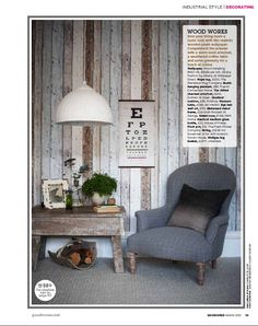 wallpaper that looks like wood paneling... obviously would prefer the wood but it's still a really clever & modern way to get that same feel.