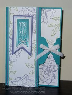Peaceful Petals Tag Topper Card and Perfect Pennants love these cards - easier than they look and that little bit extra special!  #stampinup #peacefulpetals #scalloptagtopper #occasions2014