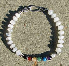 Gemstone Chakra Anklet or Plus Size Bracelet by BonesandStone, $25.00