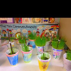 Lent activity: Jesus' Special Sign. Look at the cross each religion class. Water the seeds. When the grass sprouts think about Jesus and his new life. Great spring activity to go outside, collect branches, and to connect science.