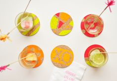 Easy DIY Neon Coasters and Cocktail Stirrers That Demand Attention