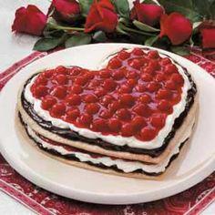 Chocolate Cherry Heart Recipe - Layers of pie crust, ground almonds,  fudge topping, sweetened cream cheese, & cherry pie filling.