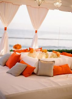 Orange and white outdoor space - stunning!!! loung area, beach furniture, idea, lounge areas, wedding lounge, lounges, orange weddings, oranges, outdoor weddings