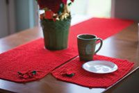 Poinsettia Table Setting Digital Crochet Pattern from Love of Crochet magazine's Holiday Crochet 2014 Issue - A table runner and placemat to make any meal more festive