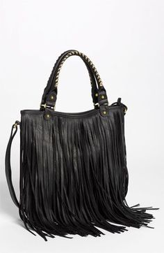 Leather Fringe Hobo Bag