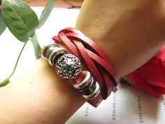Red the multilayer leather fashion adjustable by sevenvsxiao, $9.00