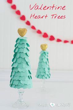 Valentine Ideas: Valentines Heart Trees Craft