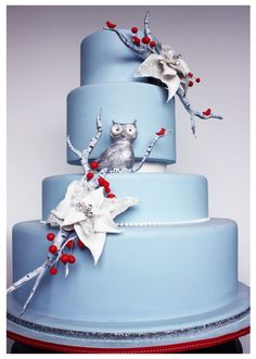 Winter Wonderland Wedding Cake | Avalon Cakes #owl #sparkle #poinsettias #periwinkleblue