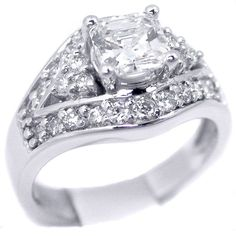 Fancy - Engagement Ring - Asscher Diamond Vintage Engagement Ring split band halo Setting 0.56 tcw. In 14K White Gold - ES18