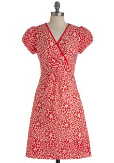 Scarlet's Do This Again Dress - Mid-length, Red, White, Floral, Party, A-line, Cap Sleeves, Vintage Inspired