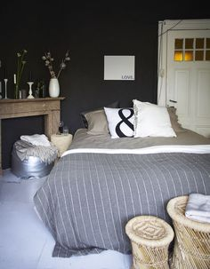 Bedroom - dark walls, grey and neutral palette
