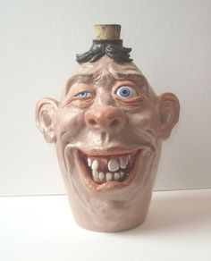 Hillbilly Face Jug stoneware One of a Kind!  Collectible, signed J Cotton realistic with porcelain eyes and teeth