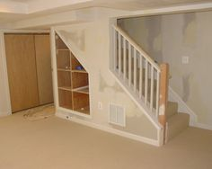 extra space under stairs where storage area will be