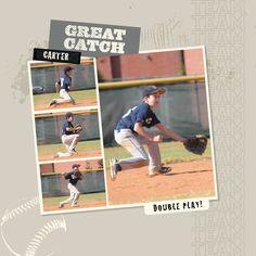 Game Day Photobook template -- baseball style.