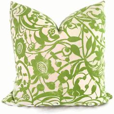 for summer: Green Woodblock Print Decorative Pillow Cover  Toss by PopOColor, $48.00
