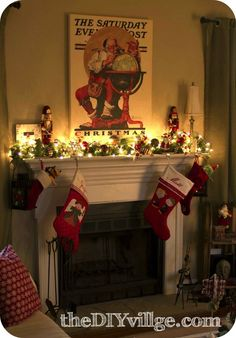 Christmas Mantel with Santa - the DIY village