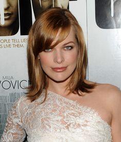 Milla Jovovich Medium Straight Cut with Bangs