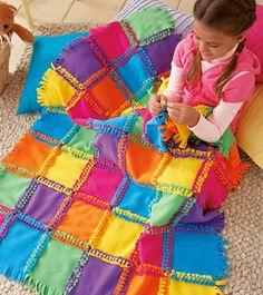 blankets to make, kid quilts, fun thing to make with kids, diy fleece pillow, fleece crafts, fleece blankets, sewing blankets ideas, kids sewing crafts, fleec knotaquilt