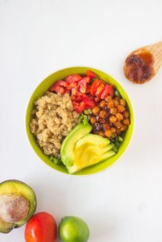 Honey & Lime Quinoa Salad Bowl with BBQ Chickpeas!  Gluten free