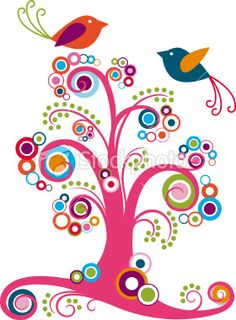 So colorful and fun! Whimsical tree with birds vector art illustration available at istockphoto,com.