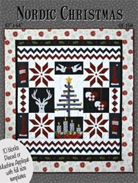 Nordic Christmas Quilt Pattern. The quilt is made up of 10 different blocks inspired by my childhood memories growing up in Iceland. It features significant motifs that remind me of a Scandinavian Christmas. http://www.kayewood.com/item/Nordic_Christmas_Quilt_Pattern/2914 $11.00