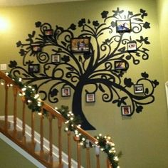 Love this idea for a stairwell photo gallery. decorate