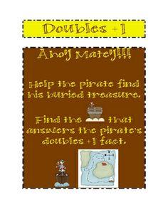 Doubles + 1 Pirate Treasue hunt math center