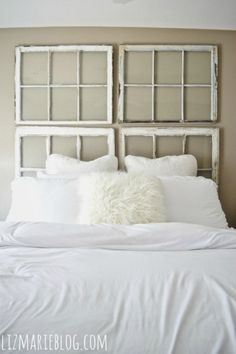 Antique Window Headboard - part of this rustic house tour filled with great DIY ideas!
