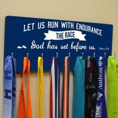 Hooked On Medals Hanger Let Us Run | Running Medal Hangers | Running Medal Displays | Medal Displays for Runners Medal Hanger