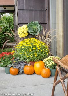 11 Ways to add Fall to your Home   Mums and Pumpkins from Four Generations One Roof