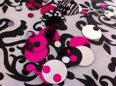 From Party City. I got a lot of my black and white decorations here. Fast shipping. Black and white with touch of pink confetti!