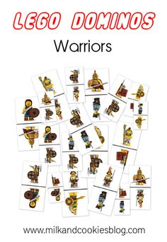 Free printable for Lego dominos, featuring Lego warrior minifigures.