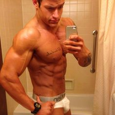 Abs, Pecs, Arms - cut & ripped - and a nicely packed jock too