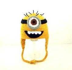 Hahaha..  love this! minions, minion hat, handmade accessories, funny hats, earflap hat, birthday hats, crochet, despic, eye minion